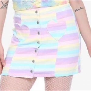 Pastel Rainbow Denim Skirt